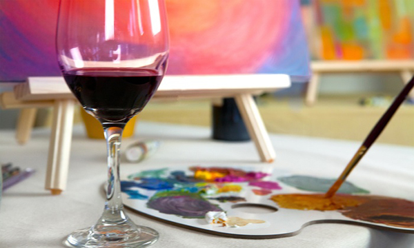 Wine Glass with Paint Palette