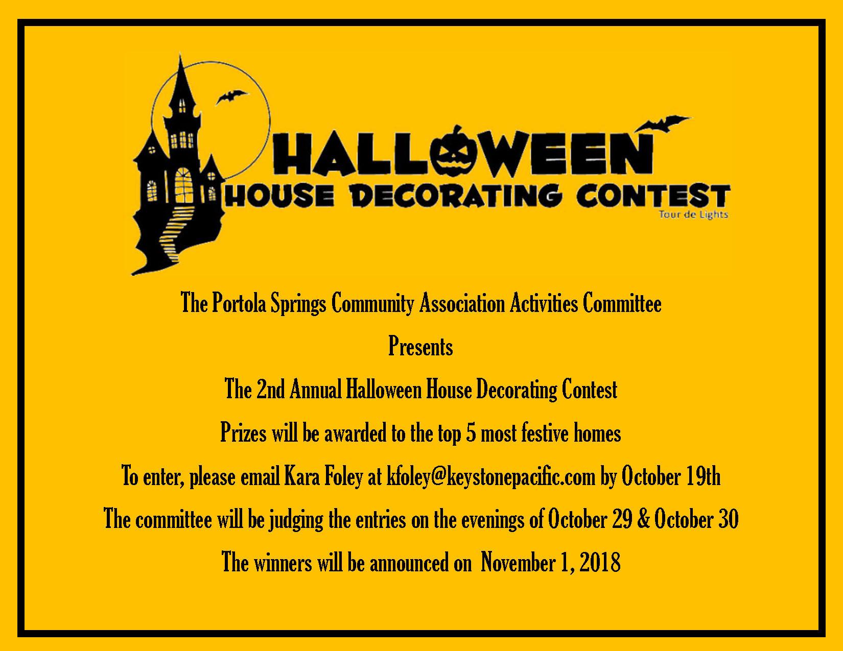 Portola Springs Halloween House Decoration Flyer
